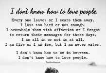 I Don't Know How To Love People