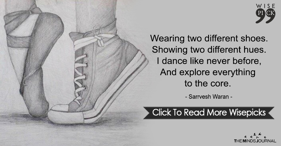 Wearing two different shoes