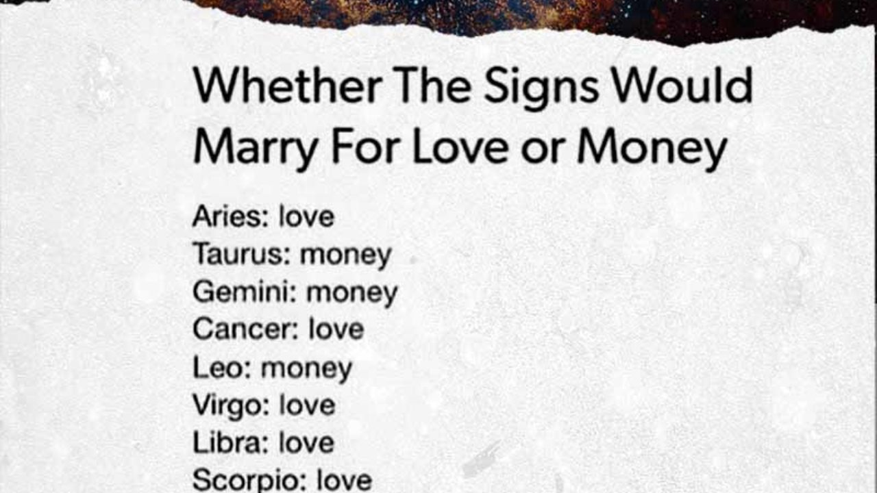 Whether The Signs Would Marry For Love Or Money