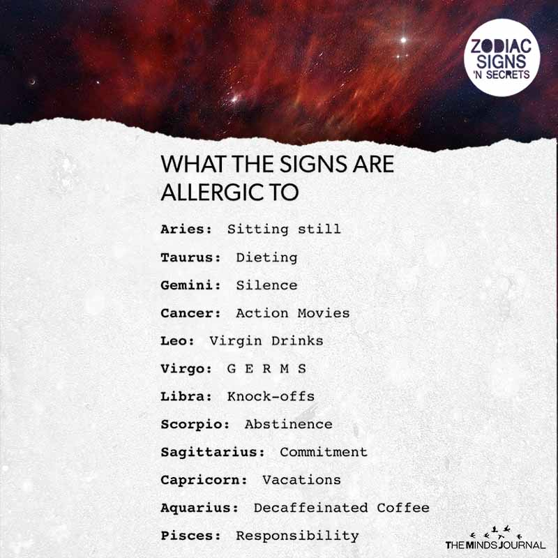What The Signs Are Allergic To
