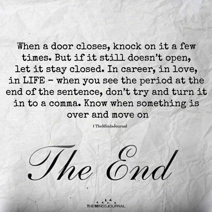when a door closes knock on it a few times the minds journal