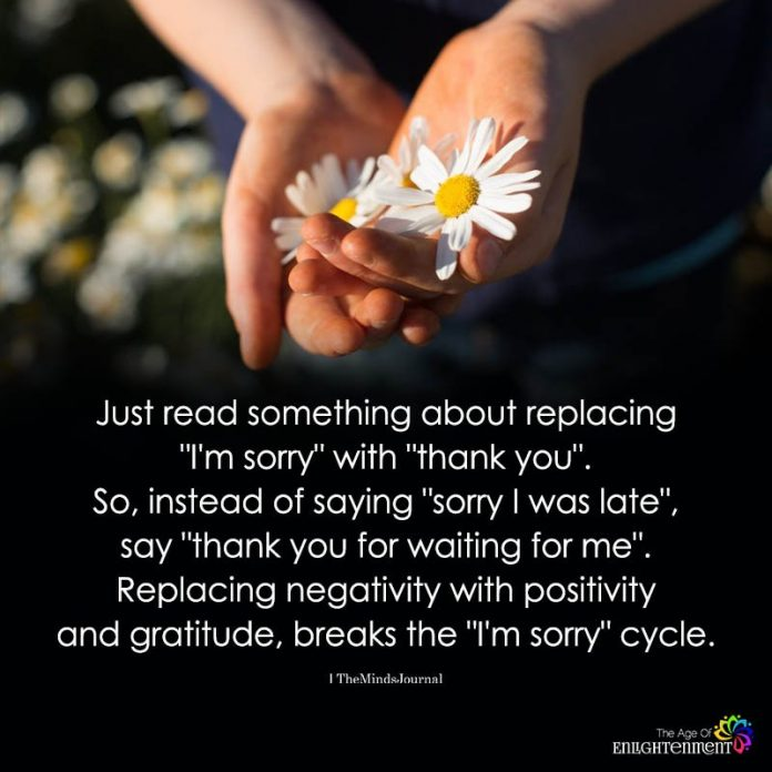 Just Read Something About Replacing I'm Sorry With thank you