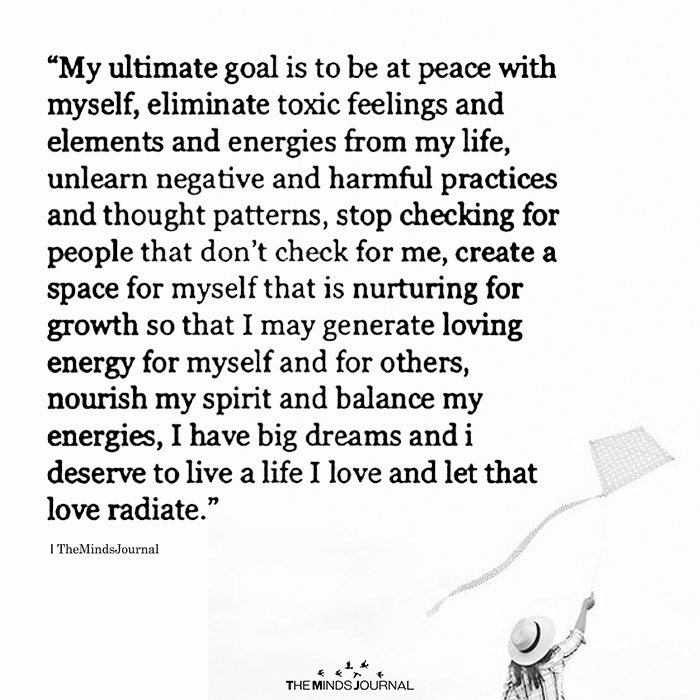 My Ultimate Goal is To Be At Peace With Myself