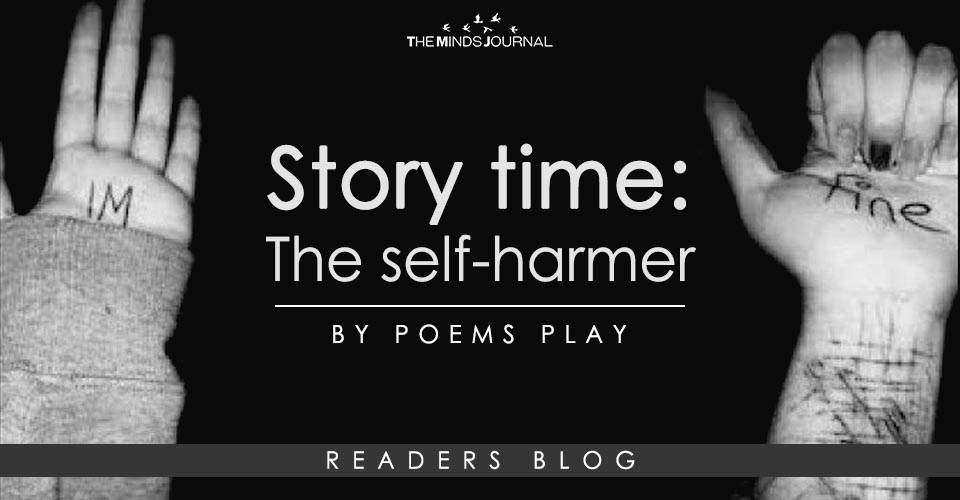 He sat on the toilet, lost and confused, his heart filled with so much pain. , Poems play, Story time The self-harmer