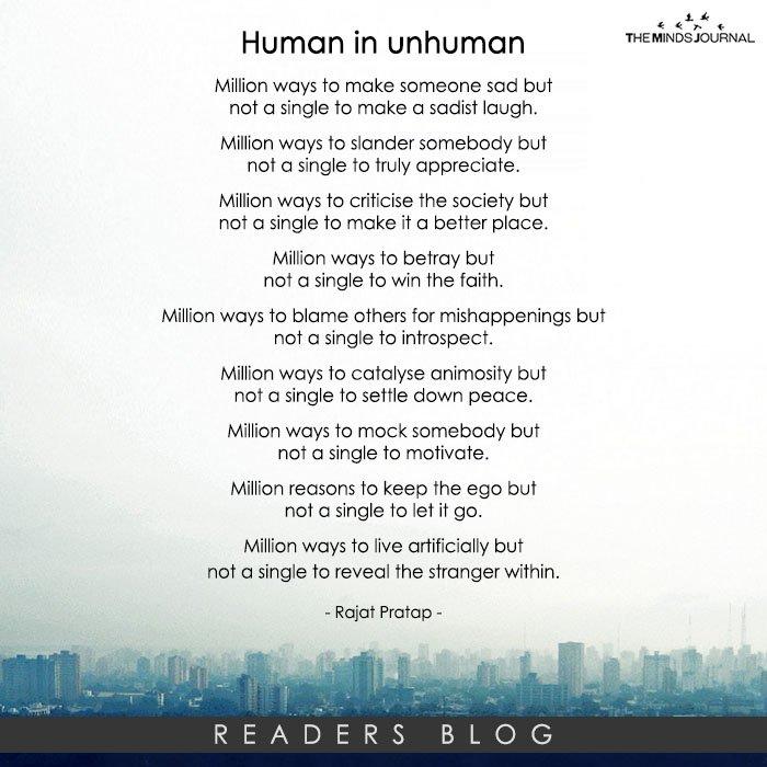Human in unhuman