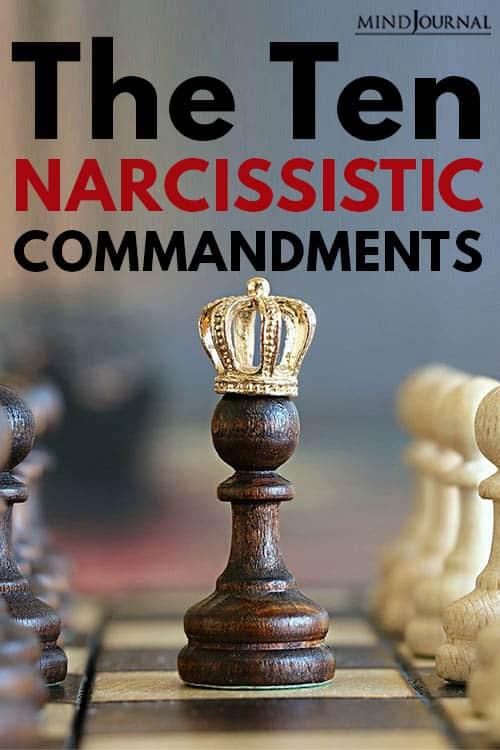 Ten Narcissistic Commandments pin