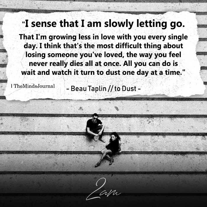I Sense That I Am Slowly Letting Go