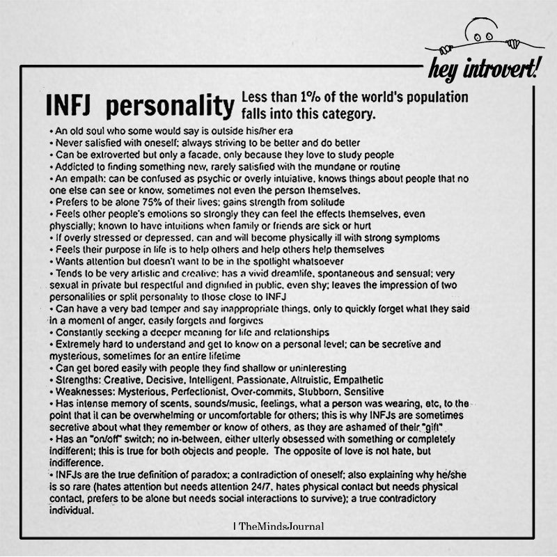 INFJ Personality Less Than 1% Of The World's Population Falls Into This Category
