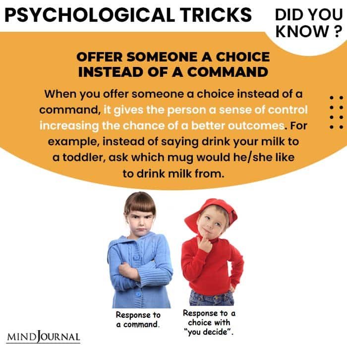 Psychological Tricks Dealing People offer someone instead of command