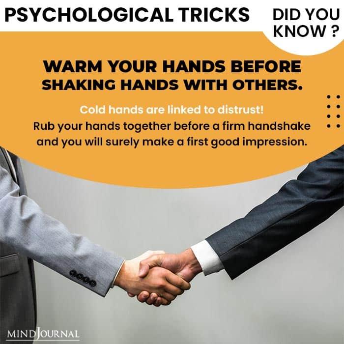 Psychological Tricks Dealing People warm hands before shake hands