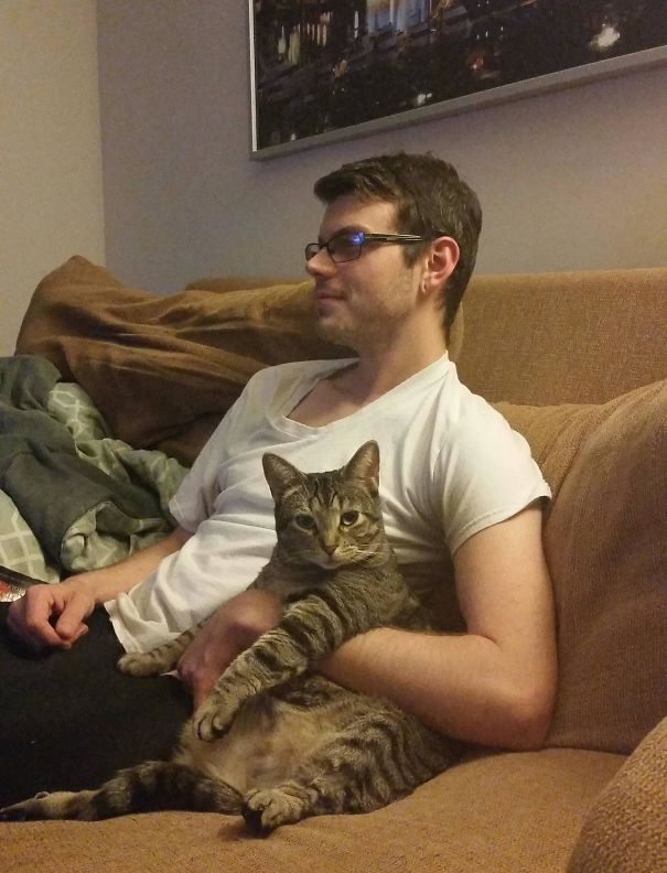 The cat doesn't like the man's wife to sit close to him