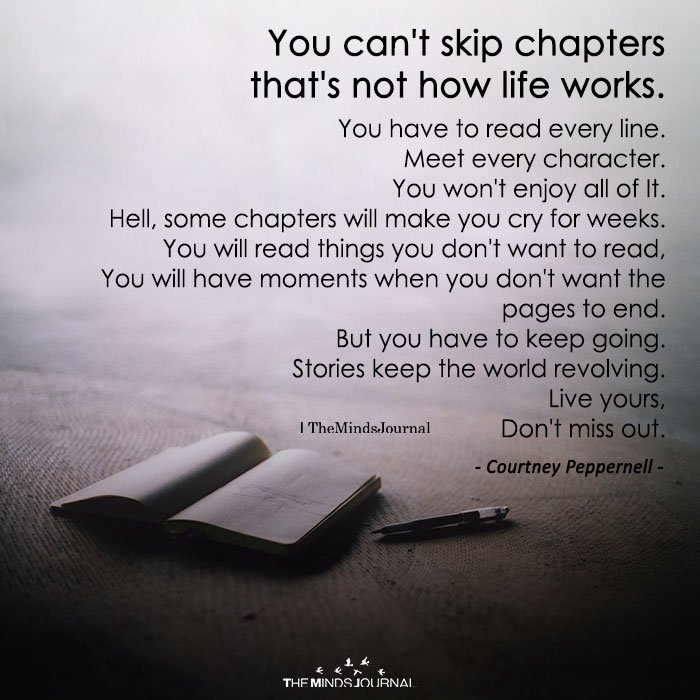 You Can't Skip Chapters That's Not How Life Works