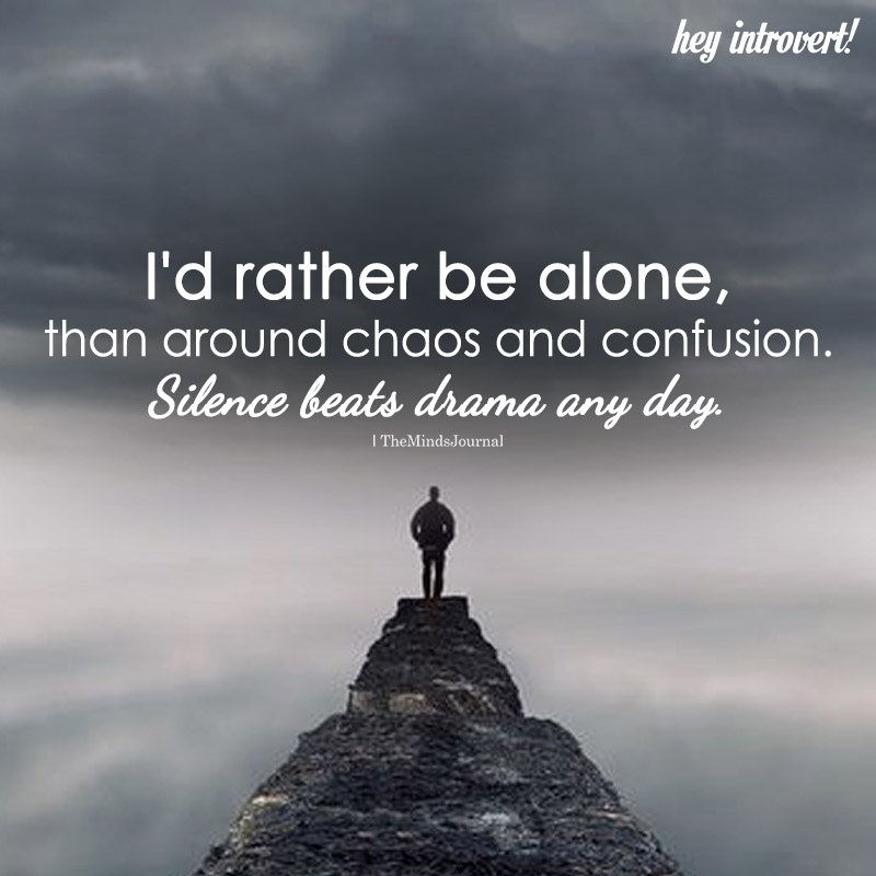 I'd Rather Be Alone, Than Around Chaos And Confusion