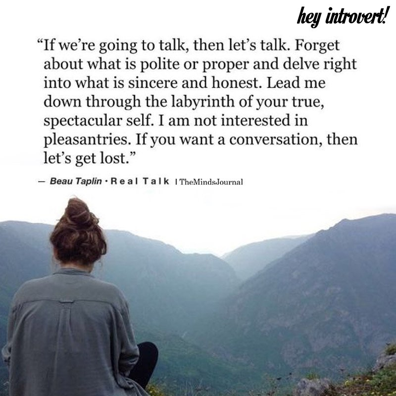 If We're Going To Talk, Then let's Talk