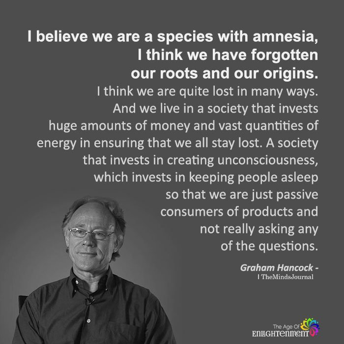 I Believe We Are A Species With Amnesia