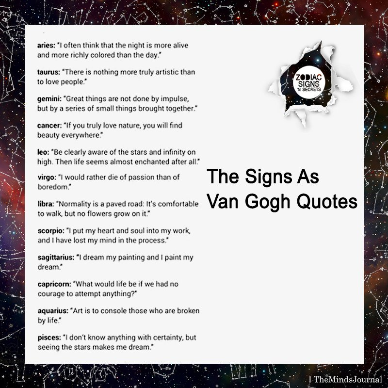 The Signs As Van Gogh Quotes