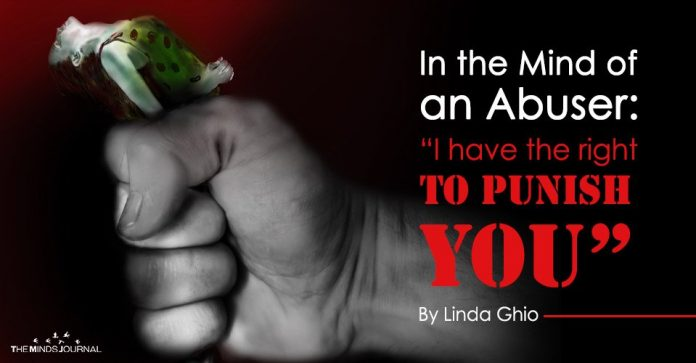 """In the Mind of an Abuser """"I have the right to punish you""""."""