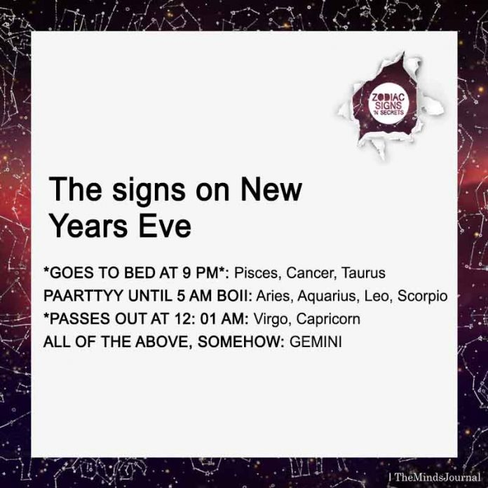 The signs on New Years Eve