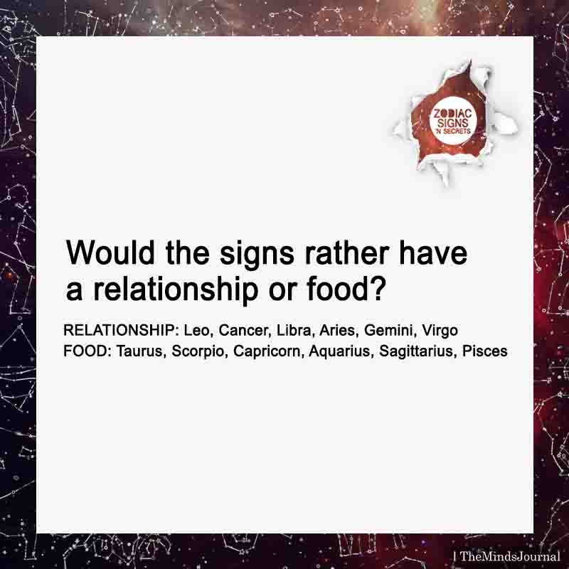 Would The Signs Rather Have A Relationship Or Food