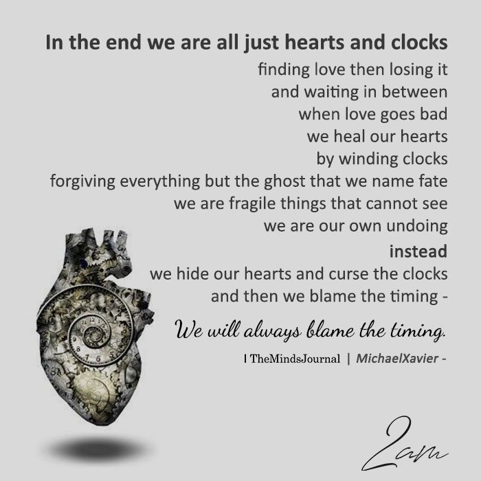 In the end we are all just hearts and clocks finding love