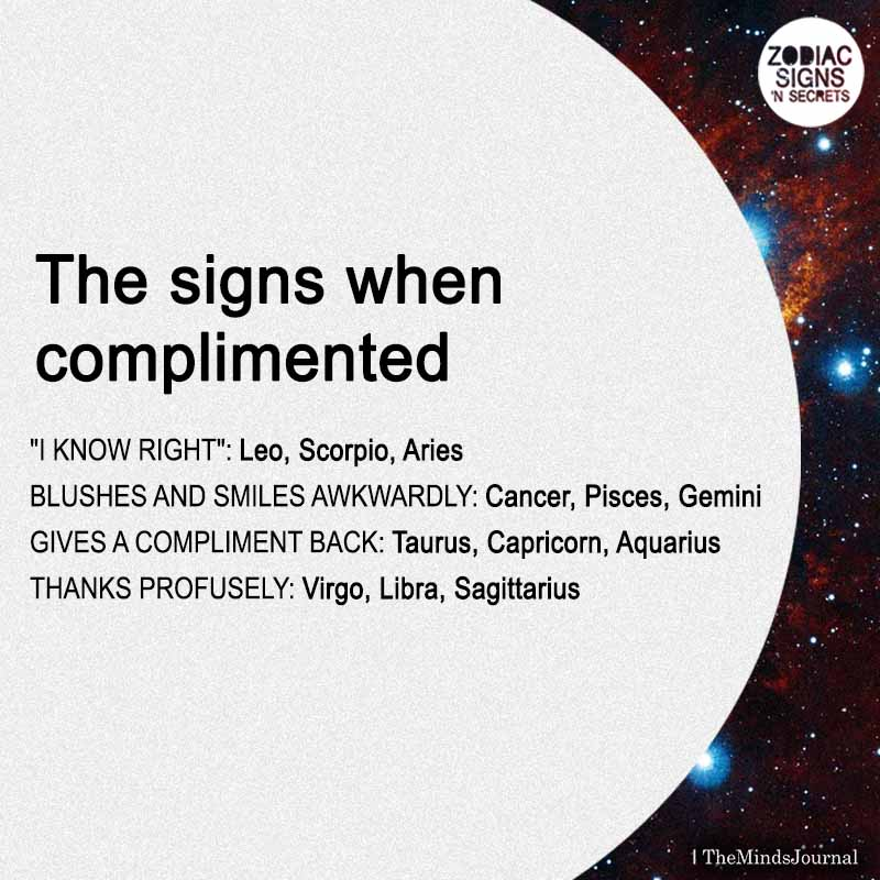 the signs when complimented