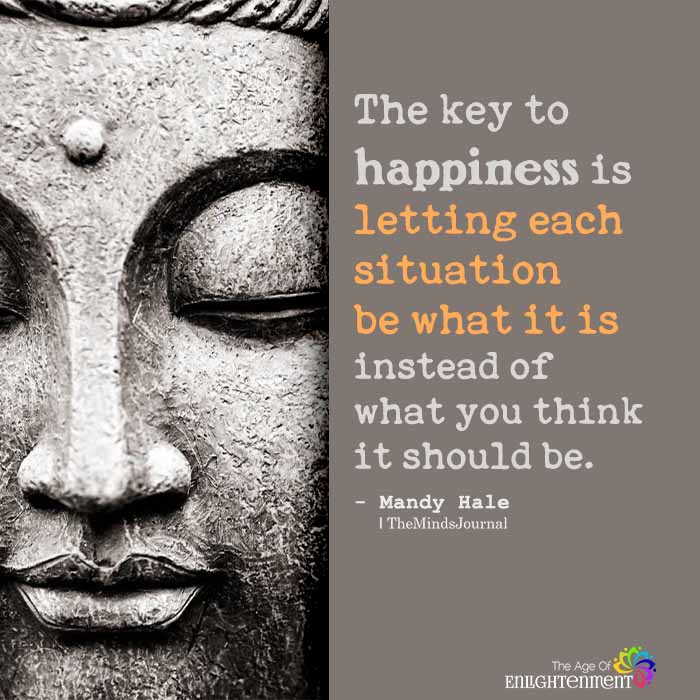 The key to happiness is letting each situation be what it is
