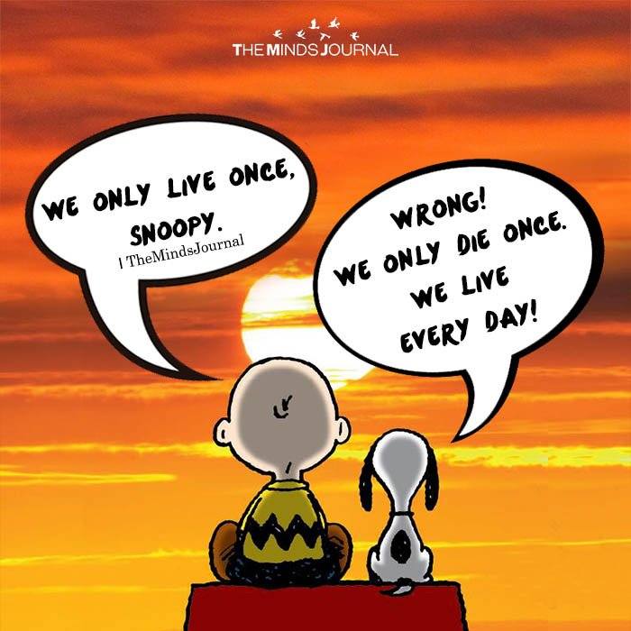 WE ONLY DIE ONCE SNOOPY WE ONLY LIVE ONCE,SNOOPY WE LIVE EVERY DAY! WRONG