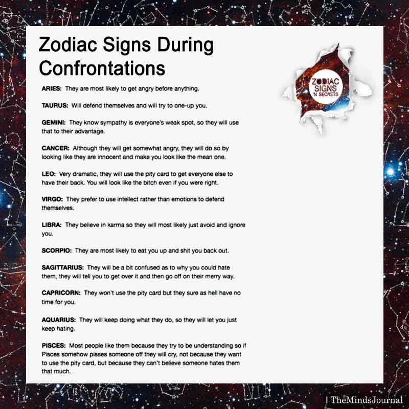 Zodiac Signs During Confrontations