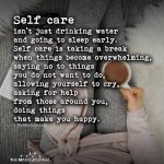 Self care isn't just drinking water