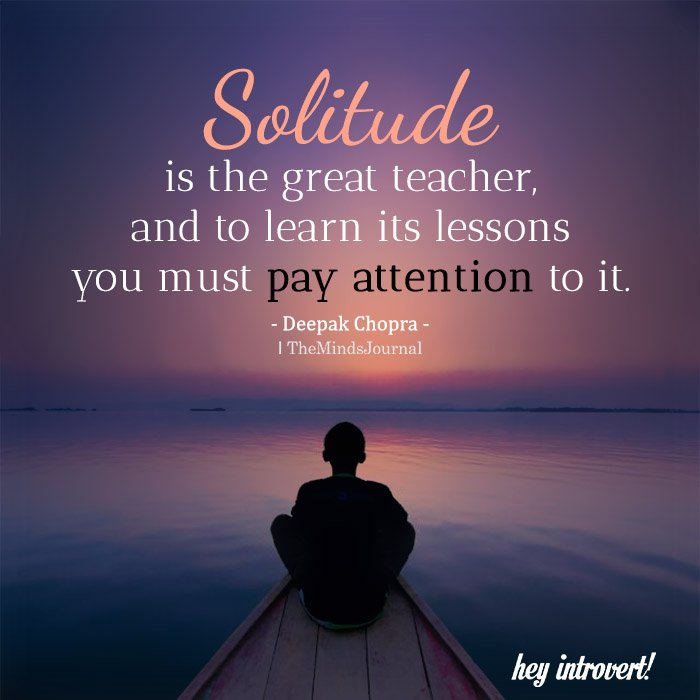 Solitude Is The Great Teacher
