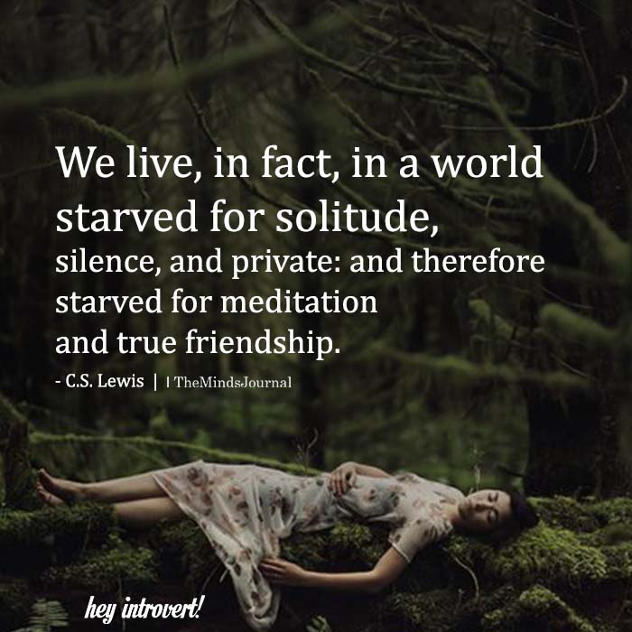 We Live, In Fact, In A World Starved For Solitude
