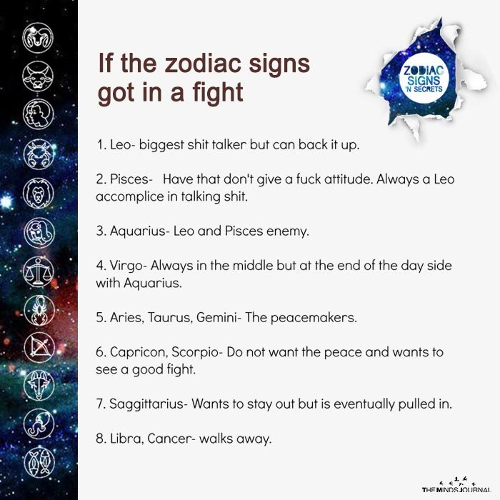 If The Zodiac Signs Got In A Fight