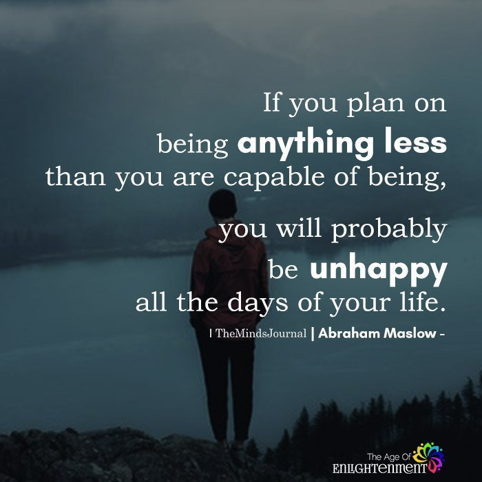 If You Plan On Being Anything Less Than You Are Capable Of Being