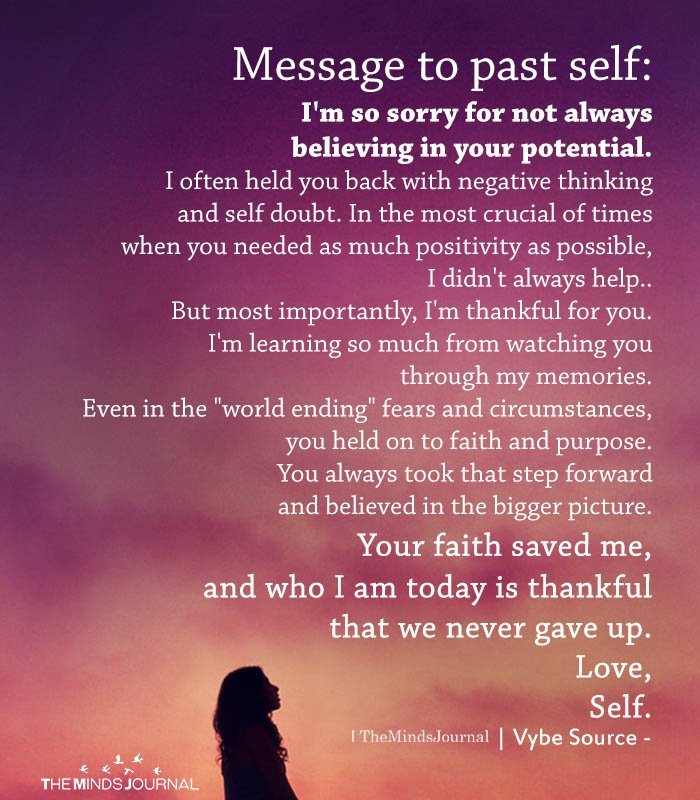 Message to past self I'm so sorry for not always believing in your potential