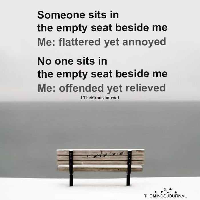 Someone sits in the empty