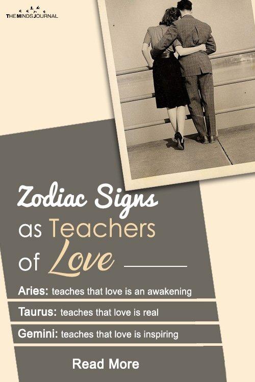 Zodiac signs as teachers of love pin