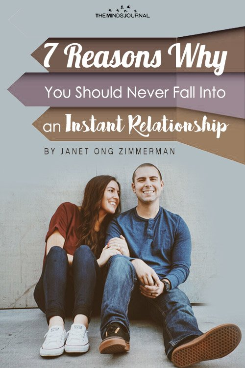 never fall into an instant relationship pin