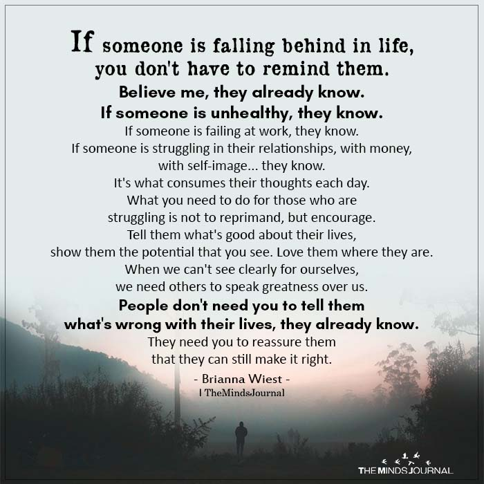 If someone is falling behind in life