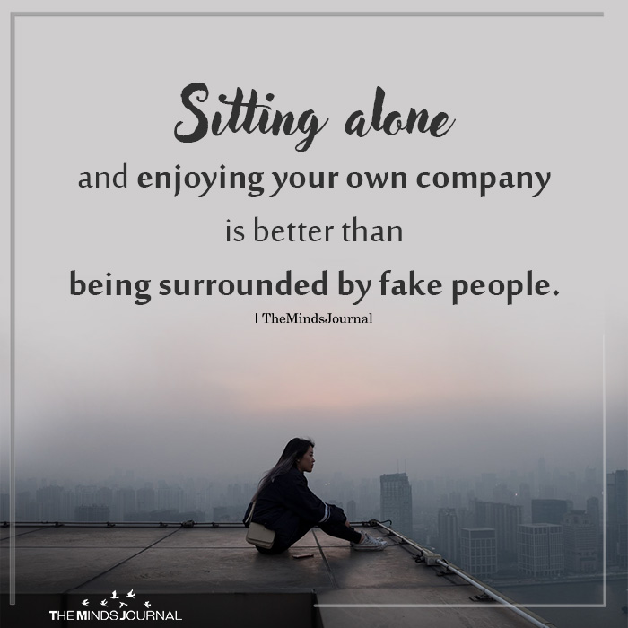 Sitting alone and enjoying your own company