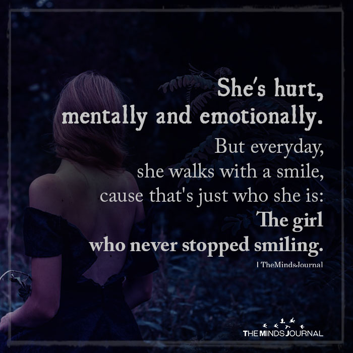 She's Hurt, Mentally And Emotionally