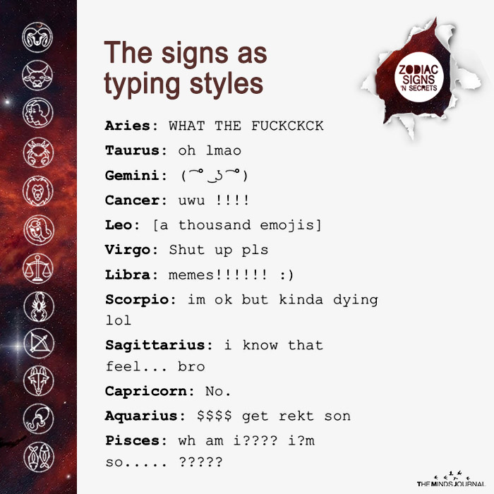 The Signs As Typing Styles