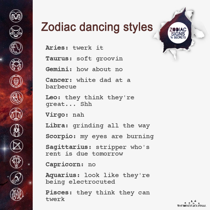 zodiac dancing styles