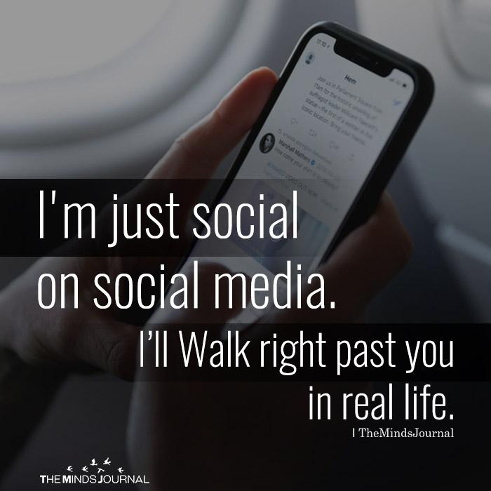 i am just social on social media