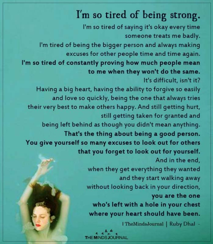 i am tired of being strong
