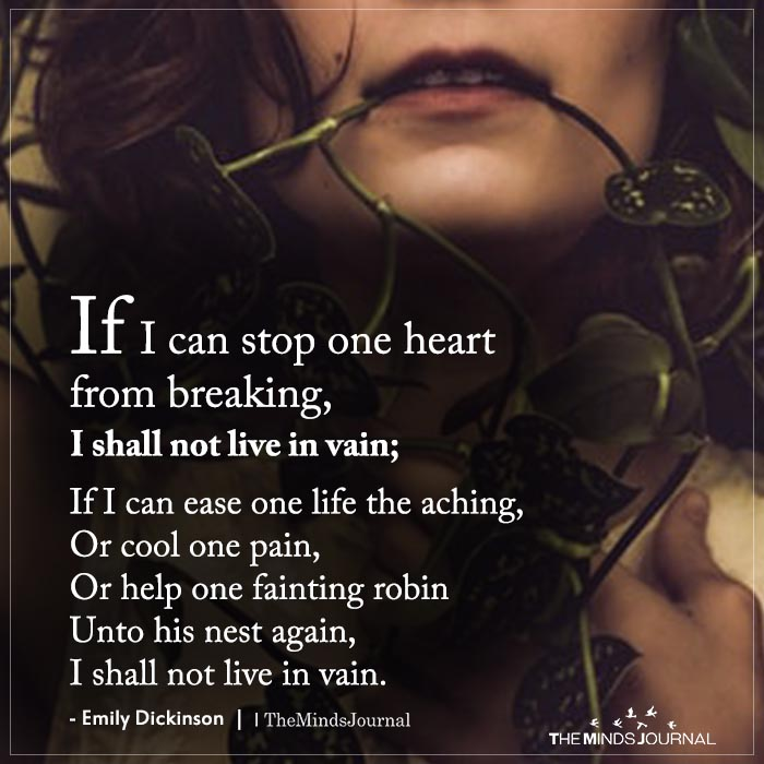 if i can stop one heart