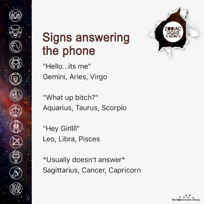 signs answering the phone