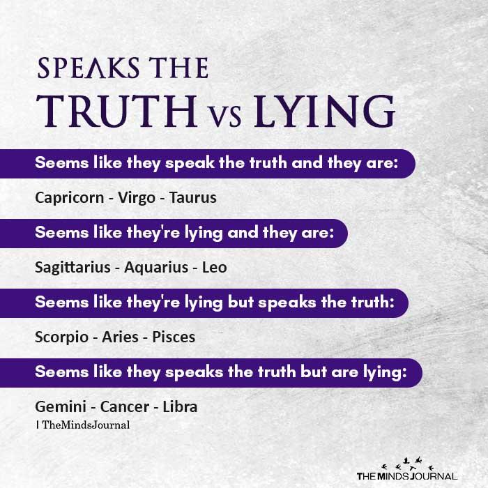 speaks the truth vs lying