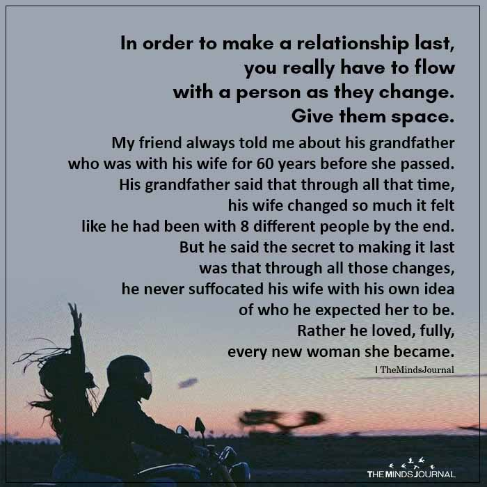 In Order To Make A Relationship Last