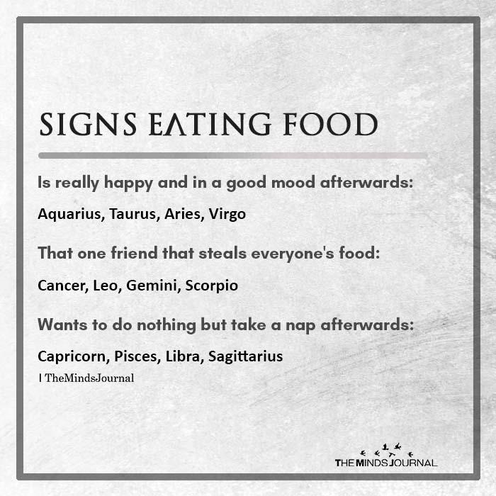 Signs Eating Food