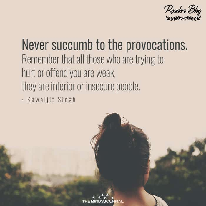 Never Succumb To The Provocations